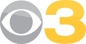 CBS 3 grey and yellow on white
