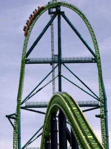 The world's tallest at a height of 456 feet, and America's fastest roller coaster, Kingda Ka launches at 128 miles per hour. Riders fall at a 90-degree right angle after reaching the peak. Named after the Bengal tiger that lives next to the ride, Kingda Ka is less than a minute long, but it promises to be one of the scariest of your life! (Photo credit STAN HONDA/AFP/Getty Images)