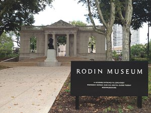 """The Thinker"" sits in front of the main entrance to the Rodin Museum, near 22nd and the Parkway. (credit: Mike Dunn)"