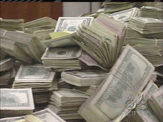 (Some of the cash recovered by authorities during raids on Mastronardo properties.  File photo)