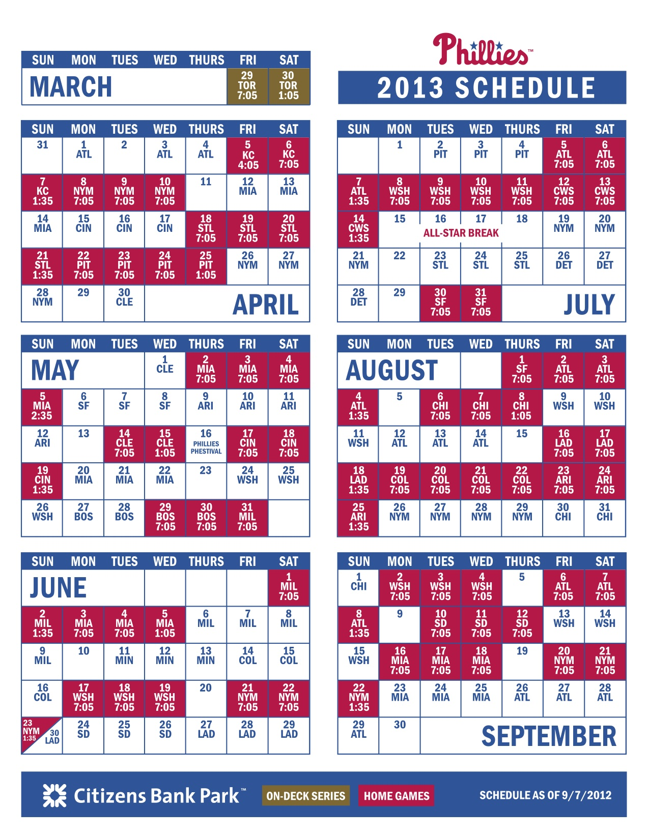 photograph regarding Phillies Schedule Printable named Phillies Launch 2013 Timetable CBS Philly