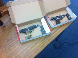 Guns recovered from home of 14-year-old student accused of making threats against Council Rock South H.S. (credit: Northampton Twp. P.D.)