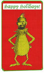 """(Union workers handed out cards portraying Mayor Nutter as """"The Grinch."""")"""