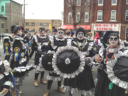 (A comic troupe gets ready to march.  Credit: John McDevitt)