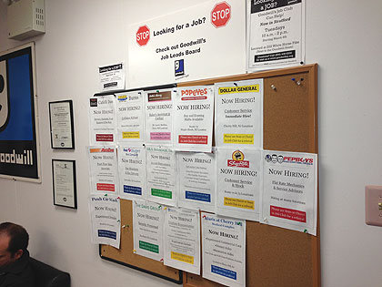 (The jobs posting board at Goodwill in Maple Shade, NJ.  Credit: Mike DeNardo)