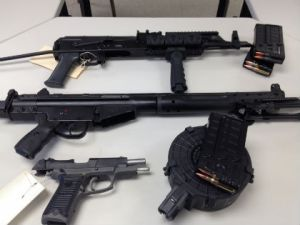 The weapons confiscated by police. (Credit: Del. State Police)