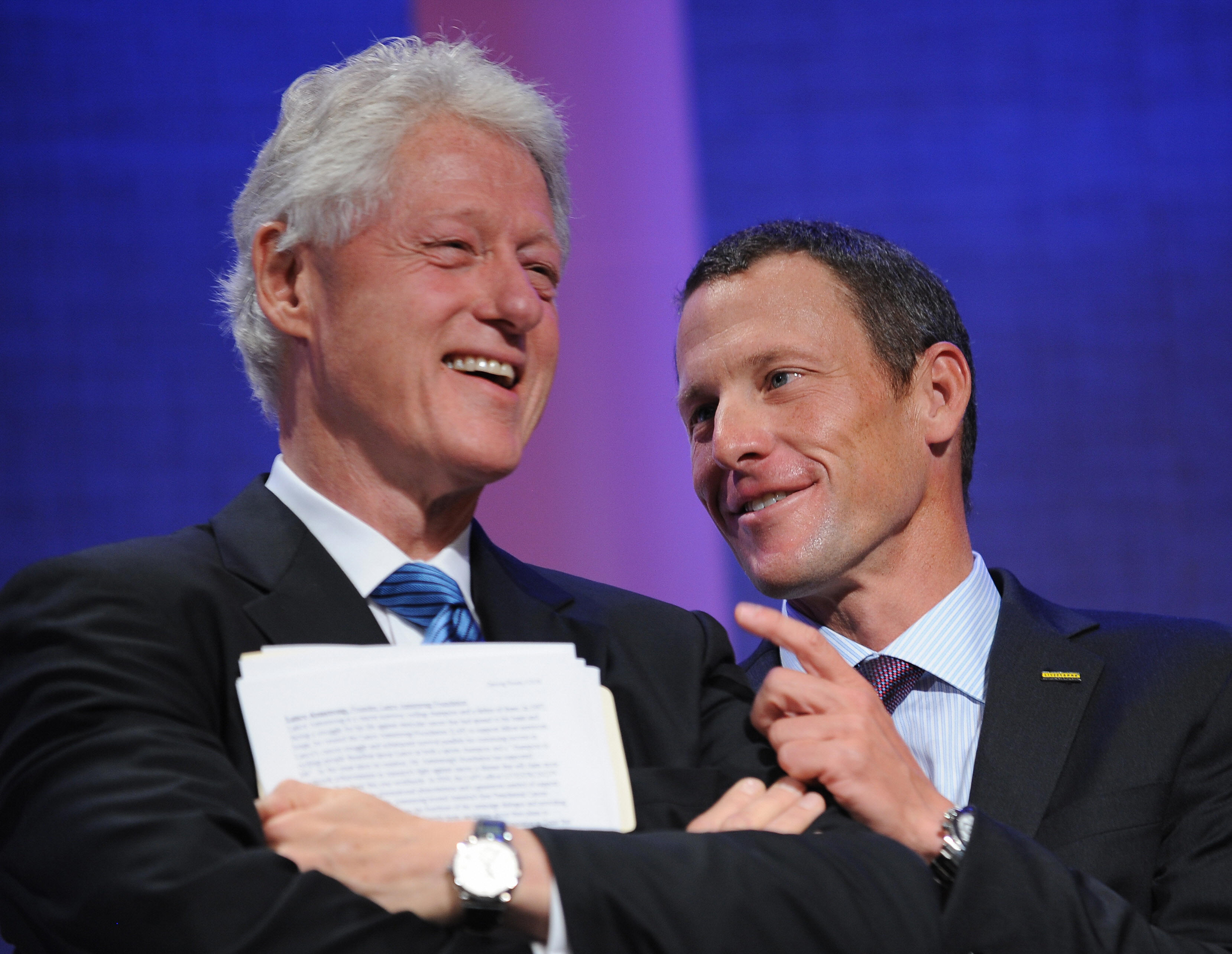 Former President Bill Clinton and Lance Armstrong at the Clinton Global Initiative (CGI) smile on Sept. 24, 2008 in New York. (credit: STAN HONDA/AFP/Getty Images)