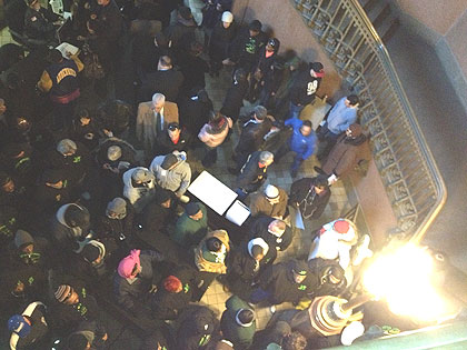 (The northeast entrance to City Hall was jammed this morning with spectators headed for Council chambers ahead of the mayor's budget address.  Credit: Mike Dunn)
