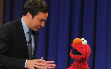 Elmo being interviewed by Jimmy Fallon (Photo by Theo Wargo/Getty Images)