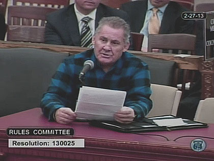 (Ex-convict Gregory Glemser testifies before City Council.  Image from City of Phila. TV)