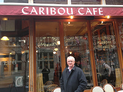 """(Kevin Burns of Action AIDS outside Caribou Café, 1126 Walnut Street, one of the restaurants participating in """"Dining Out For Life.""""  Photo provided)"""