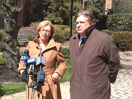(Marci Hamilton, a Washington Crossing-based attorney, and Daniel Monahan, an attorney from Malvern, announce a lawsuit alleging a woman was sexually assaulted by a priest at the National Shrine of Our Lady of Czestochowa in March 2012.  Credit: Mark Abrams)