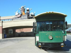(A trolley carries visitors to and from Chocolate World, the Hershey factory attraction.  Credit: Jay Lloyd)