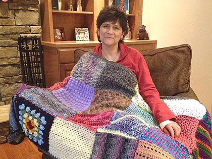 (Maureen Johnston, a blanket recipient, is being treated for cancer.  Photo by Cherri Gregg)