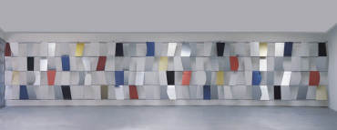 """Ellsworth Kelly (American, b. 1923). Sculpture for a Large Wall , 1956–1957. Anodized aluminum, 104 panels, 11' 5"""" x 65' 5"""" x 28"""" (348 x 1994 x 71.1 cm). Museum of Modern Art, New York, Gift of Jo Carole and Ronald S. Lauder, 526.1998 © 2012 Ellsworth Kelly(Credit: Barnes Foundation)"""