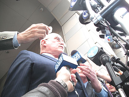 (Defense attorney Jack McMahon speaks with reporters outside the Criminal Justice Center.  Credit: Steve Tawa)