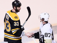 Zdeno Chara and Sidney Crosby shake hands after the Bruins won the Eastern Conference finals. (Photo by Alex Trautwig/Getty Images)