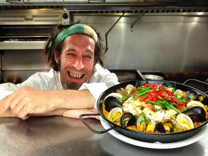 (David Ansill, chef at Bar Ferdinand in Northern Liberties, with a paella.  Photo provided)
