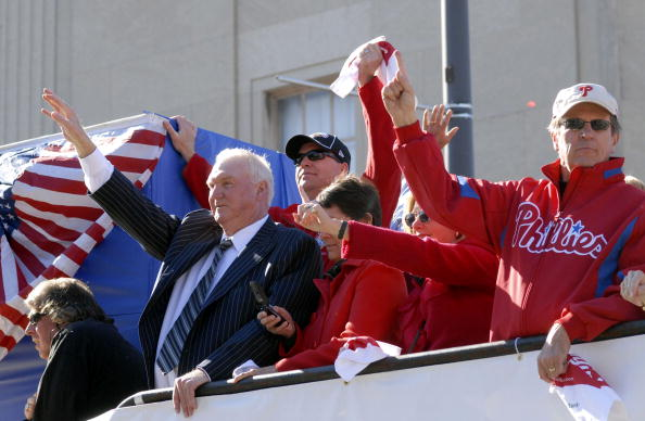 PHILADELPHIA, PA - OCTOBER 31: Manager Charlie Manuel of the Philadelphia Phillies waves to the crowd during the World Championship Parade October 31, 2008 in Philadelphia, Pennsylvania. The Phillies defeated the Tampa Bay Rays to win their first World Series in 28 years.  (Photo by William Thomas Cain/Getty Images)