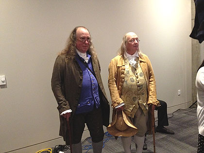(ALL BENS, ALL THE TIME.  Three Ben Franklin reënactors took part in today's press tour.  Credit: Pat Loeb)