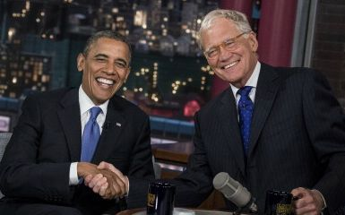 President Obama and David Letterman (Photo credit BRENDAN SMIALOWSKI/AFP/GettyImages)