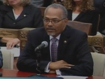 (Everett Gillison testifies.  Image from City of Phila. TV)