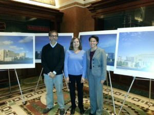 (L to R Michael Hauptman, Dena Herrin, and Rabbi Jill Maderer in front of renderings of expansion.) (credit: Tim Jimenez)