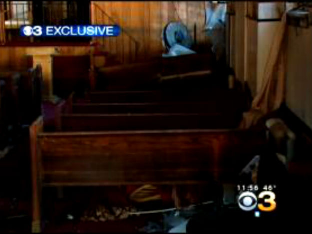 (The inside of the burned church. Credit: CBS)
