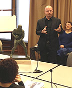 (Stephen Layne presents his vision for the Frazier statue to the Philadelphia Art Commission.  Credit: Mike DeNardo)
