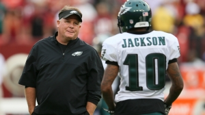 LANDOVER, MD - SEPTEMBER 09: Head coach Chip Kelly of the Philadelphia Eagles talks with wide receiver DeSean Jackson #10 before taking on the Washington Redskins at FedExField on September 9, 2013 in Landover, Maryland. (Photo by Rob Carr/Getty Images)