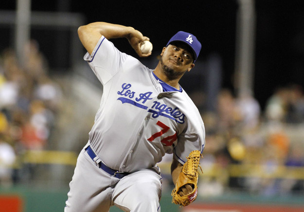 PITTSBURGH, PA - AUGUST 13:  Kenley Jansen #74 of the Los Angeles Dodgers closes out the ninth inning against the Pittsburgh Pirates during the game on August 13, 2012 at PNC Park in Pittsburgh, Pennsylvania.