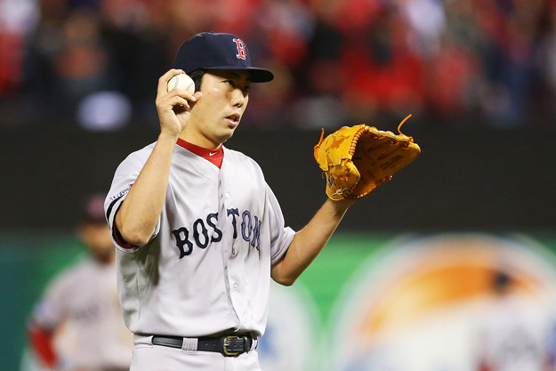 ST LOUIS, MO - OCTOBER 27:  Koji Uehara #19 of the Boston Red Sox looks on in the ninth inning against St. Louis Cardinals during Game Four of the 2013 World Series at Busch Stadium on October 27, 2013 in St Louis, Missouri.