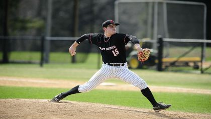 Haverford College Junior pitcher Tommy Bergjans (Credit: David Sinclair)
