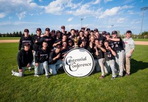 Haverford College celebrates winning the Centennial Conference and earning an NCAA Tourney bid (credit: Tyler Wenger)