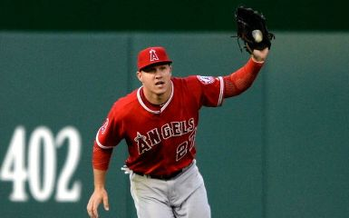 Mike Trout  (Photo by Patrick Smith/Getty Images)