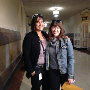 Carolyn Caton and Noelle Foizen are among 18 same-sex couples to get their marriage license at City Hall in Philadelphia today. (credit: John McDevitt/KYW)