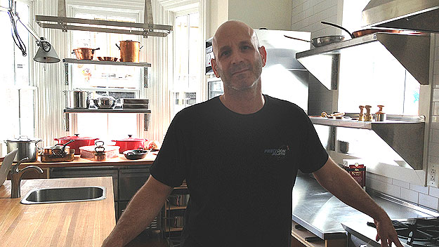 (Marc Vetri in his new demonstration kitchen, yet unnamed, upstairs from his restaurant at 13th and Spruce Streets.  Photo by Hadas Kuznits)