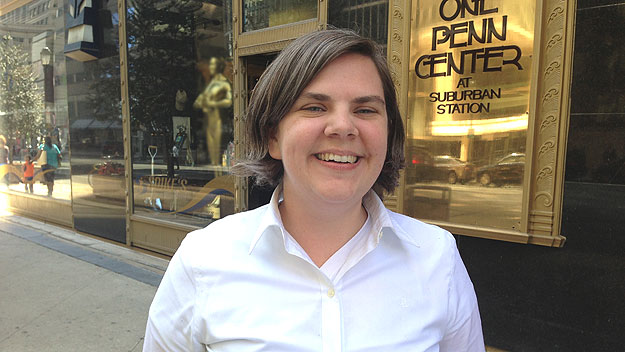 """(Meghan Walsh, """"Night Market"""" project coordinator for The Food Trust, photographed outside her office at 1 Penn Center by Hadas Kuznits)"""