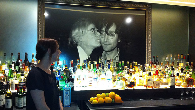 (Bar Louis, in the Hotel Fauchere, features a large vintage photograph of Andy Warhol and John Lennon.  Bar photo by Jay Lloyd)