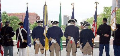 (OLD AND NEW:  Honoring the flag on the rooftop plaza of the National Constitution Center.  Photo provided)
