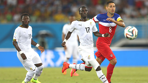 (Mohammed Rabiu of Ghana competes with Clint Dempsey of USA during a 2014 World Cup match in Brazil.   Photo by Michael Steele/ Getty Images)
