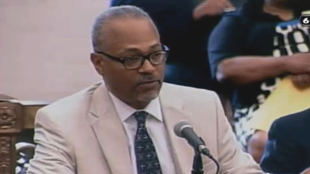 (Everett Gillison, chief of staff for Mayor Nutter, testifies before City Council's Commerce and Economic Development Committee.  Image from City of Phila. TV)