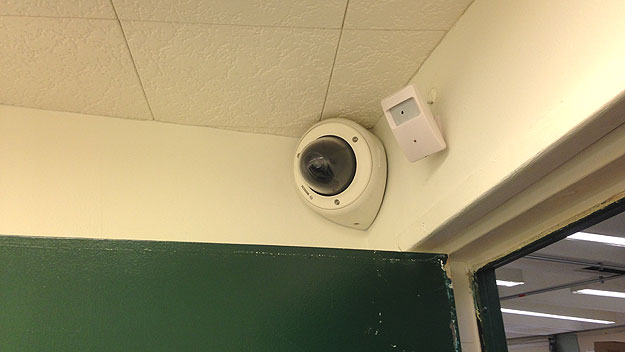(A camera and microphone already installed in an interview room of the PPD's homicide unit.   Photo by John Ostapkovich)