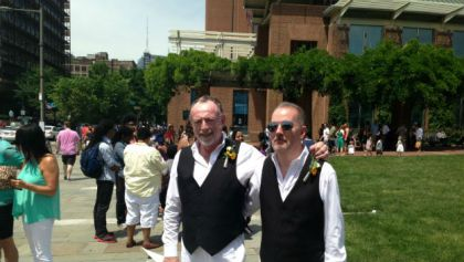 Robert Dunbar and Chaz Hendricksen exchanged vows on Independence Mall during Pride Day in Philadelphia. (credit: Justin Udo)