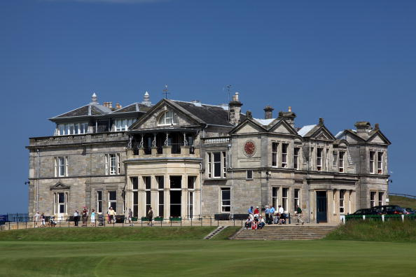 The Royal and Ancient Golf Club of St Andrews Clubhouse and the green on the par 4, 18th hole on the Old Course on July 2, 2009 in St Andrews, Scotland. (credit: David Cannon/Getty Images)