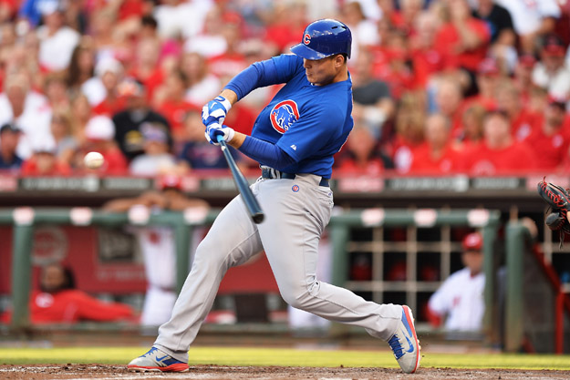 CINCINNATI, OH - JULY 9:  Anthony Rizzo #44 of the Chicago Cubs hits a solo home run in the third inning against the Cincinnati Reds at Great American Ball Park on July 9, 2014 in Cincinnati, Ohio.
