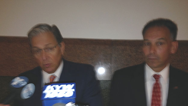 (Attorneys George Bochetto, left, and Stephen Howard represented three strip clubs in their tax case against the City of Philadelphia.  Photo by Mike Dunn)
