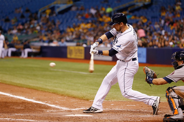 ST PETERSBURG, FL - JUNE 20:  Ben Zobrist #18 of the Tampa Bay Rays hits the ball during the ninth inning against the Houston Astros at Tropicana Field on June 20, 2014 in St Petersburg, Florida.