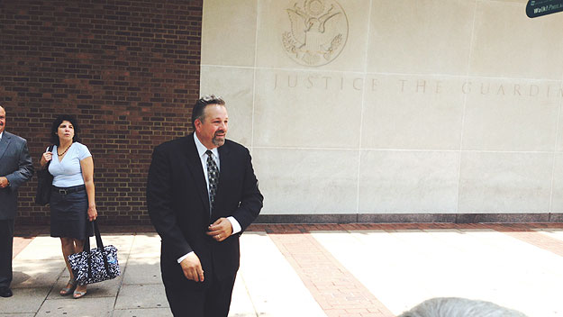 (Judge Mark Bruno smiles as he leaves US District Court in Philadelphia following his acquittal on all charges.  Photo by Steve Tawa)