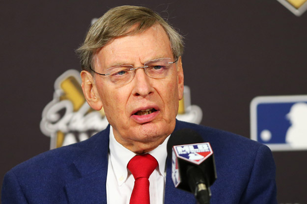 ST LOUIS, MO - OCTOBER 27:  Major League Baseball Commissioner Allan 'Bud' Selig speaks during the 2013 Hank Aaron Award press conference prior Game Four of the 2013 World Series between the Boston Red Sox and the St. Louis Cardinals at Busch Stadium on October 27, 2013 in St Louis, Missouri.